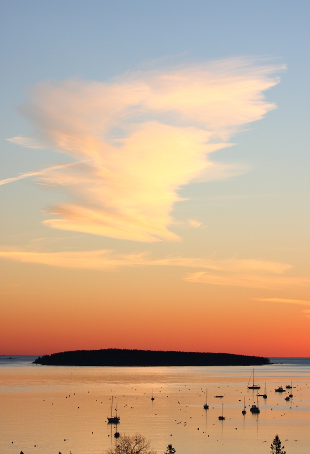 Orange and blue sunrise over Sutton Island